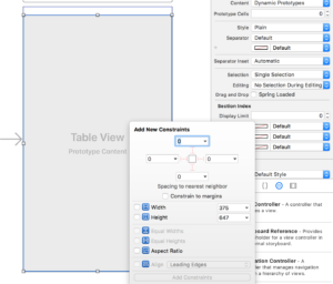 Set the layout constraints to 0 so the table view is full screen.