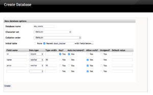 A new database with three rows of data is created.