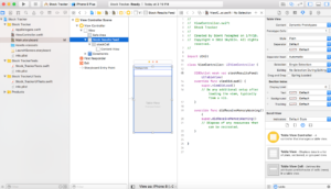 The table view is connected to the view controller Swift file.