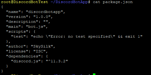 discord.js in the package.json dependencies