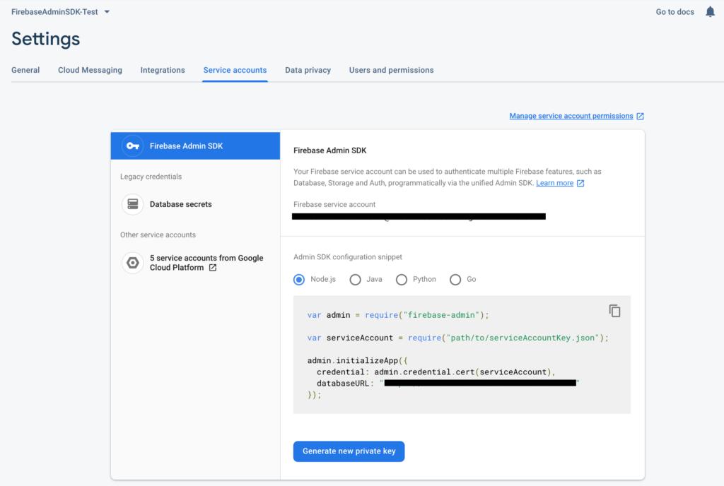 Install firebase admin sdk with javascript and nodejs