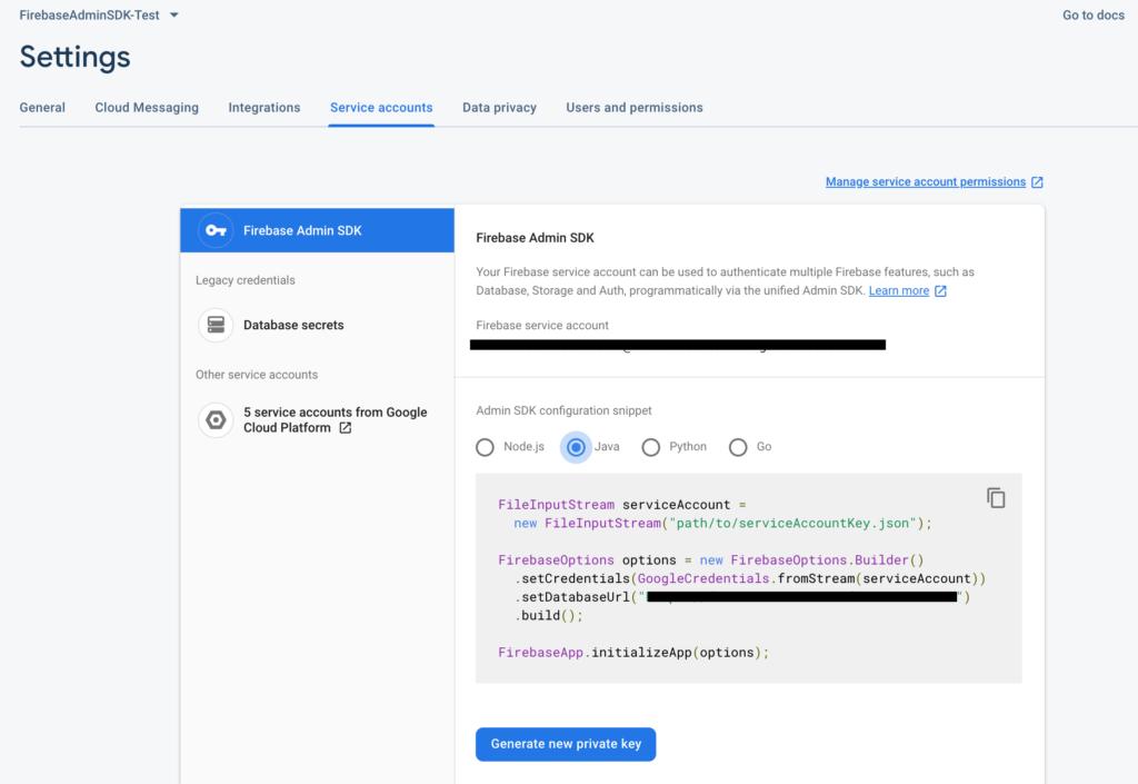 Firebase admin sdk with java