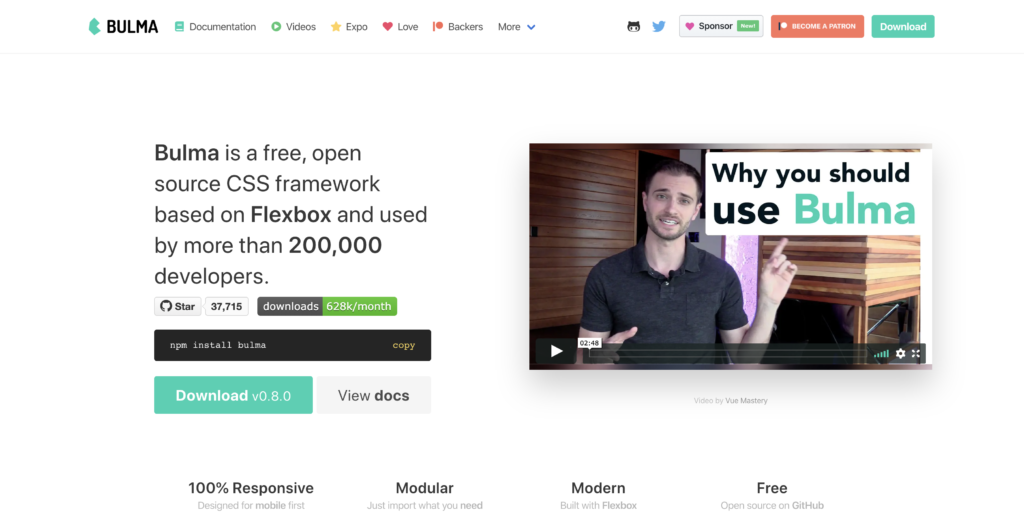 Bulma, a free open-source css framework for web developers