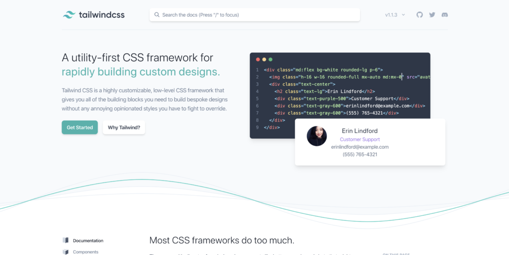 Tailwind css, top css frameworks to look out for 2020