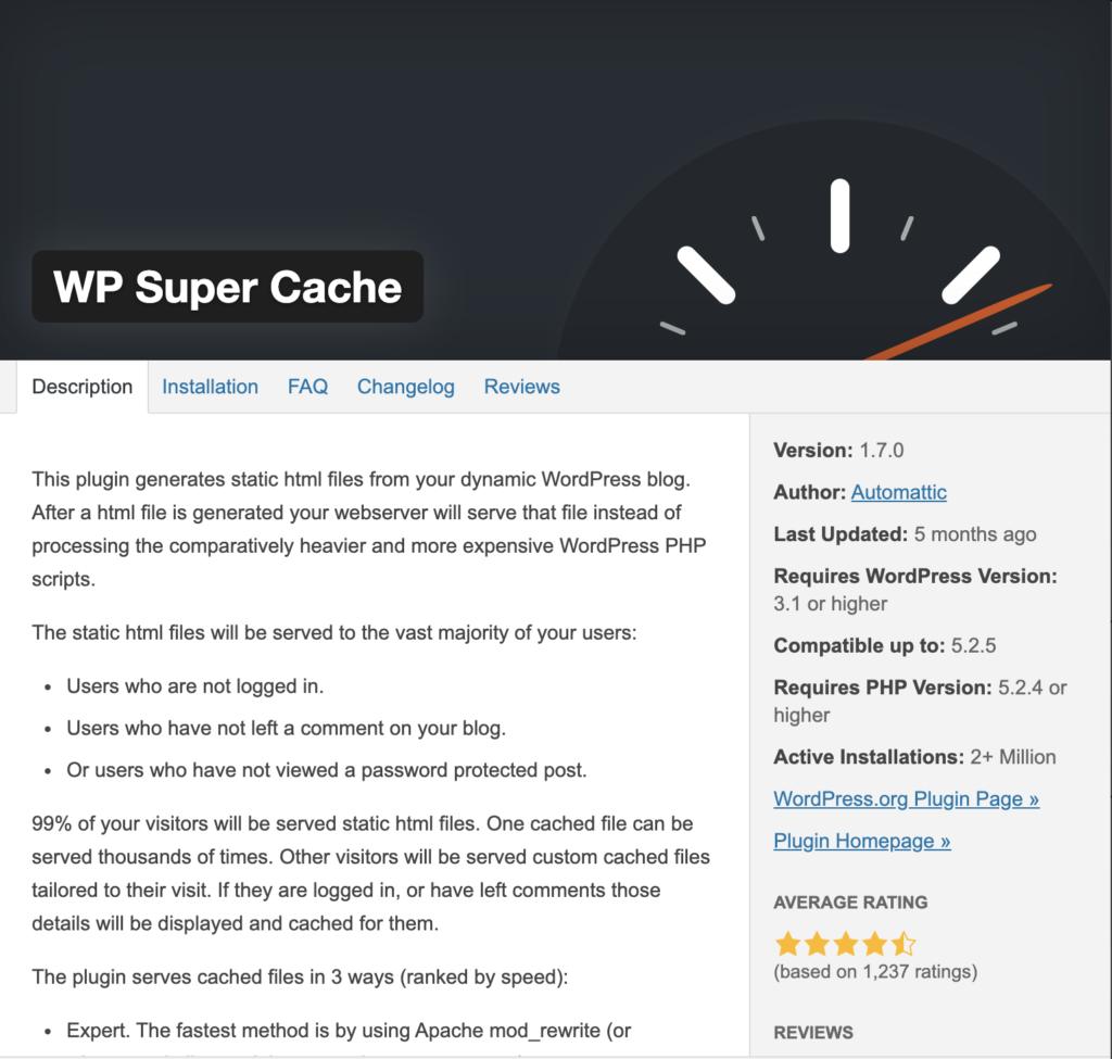 Website management - WP Super Cache